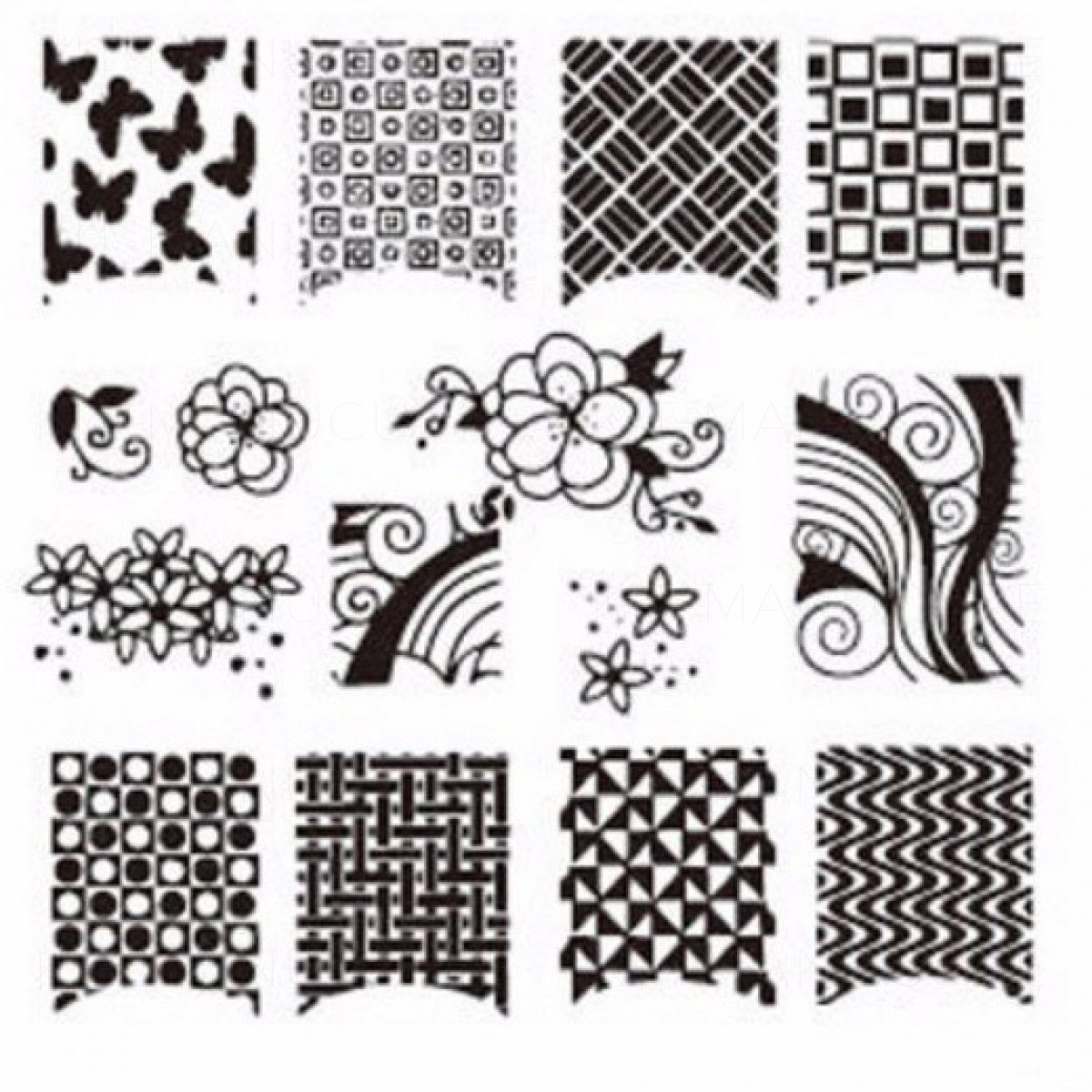 plaques de stamping motifs ann es 70 quadrillage vague losange arabesque. Black Bedroom Furniture Sets. Home Design Ideas