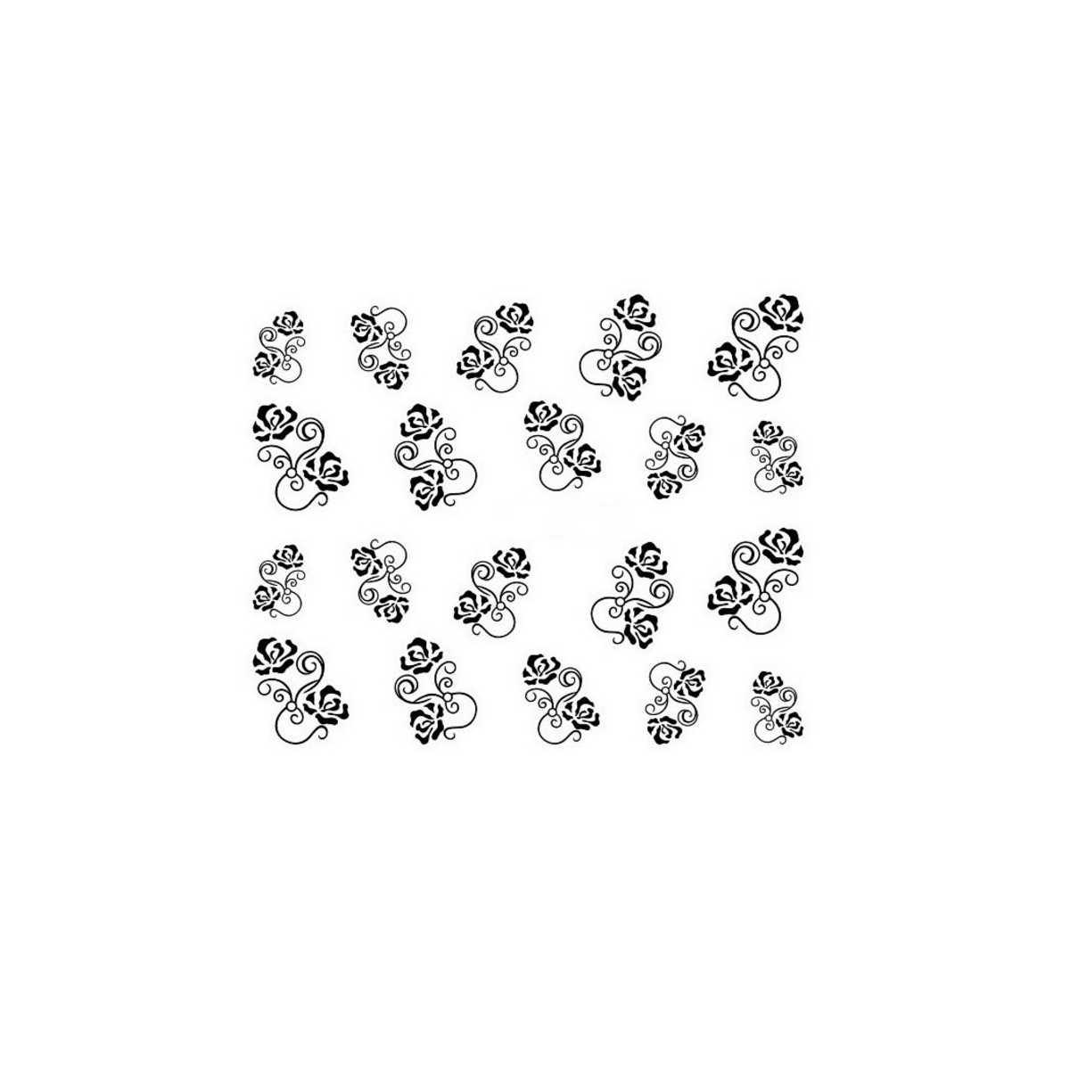 Water Decals Arabesques et Roses Stylisées - Noir