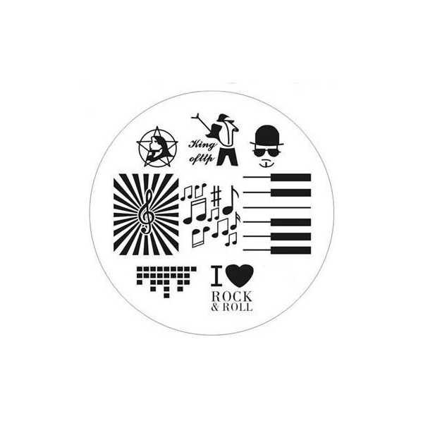 Plaque de stamping Notes de musique, Piano, I love Rock & Roll et Clé de Sol