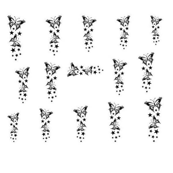 Water Decals Nail Art Papillon et Etoiles - Noir