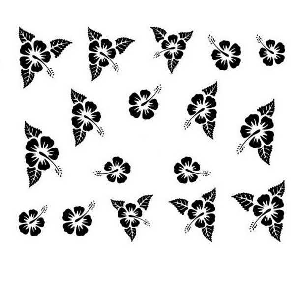 Water Decals pour ongles Fleurs d'hibiscus - Noir