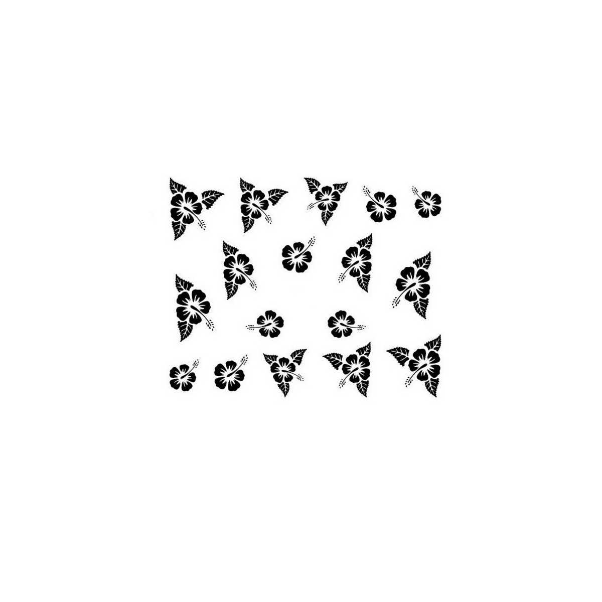 Water Decals Fleurs Dhibiscus Noir