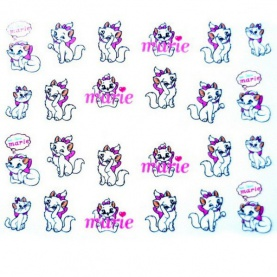 Water Decal Chats Blanc Marie