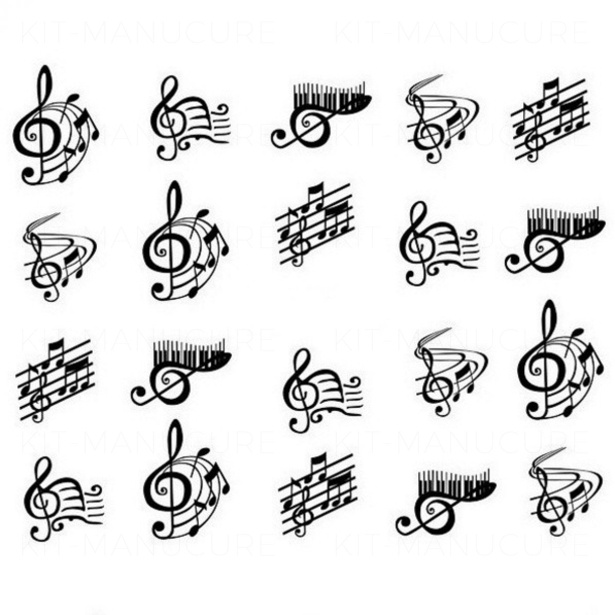 Water Decals Clés de Sol et Notes de Musique