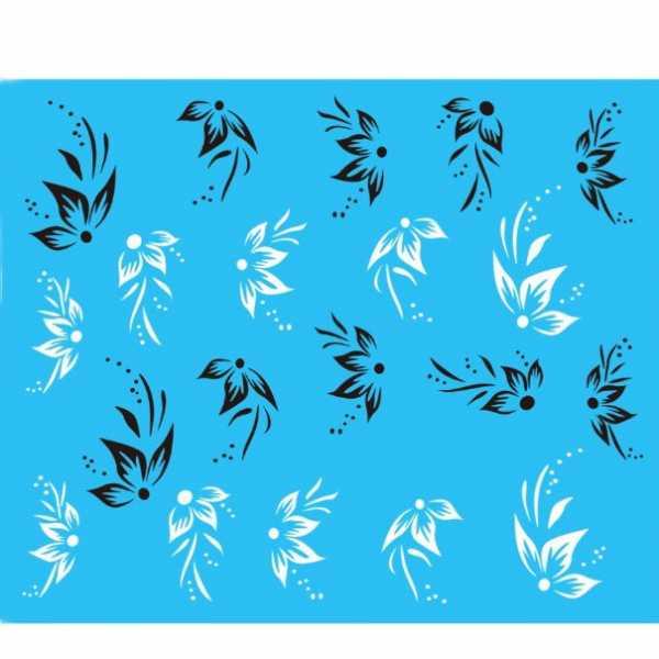 Water Decals Fleurs Stylisées Noires et Blanches