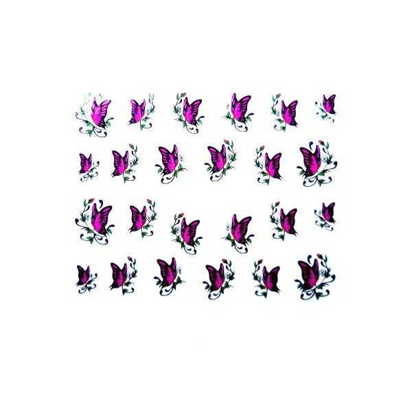 Water Decals pour ongles Papillon Violet et Feuillage