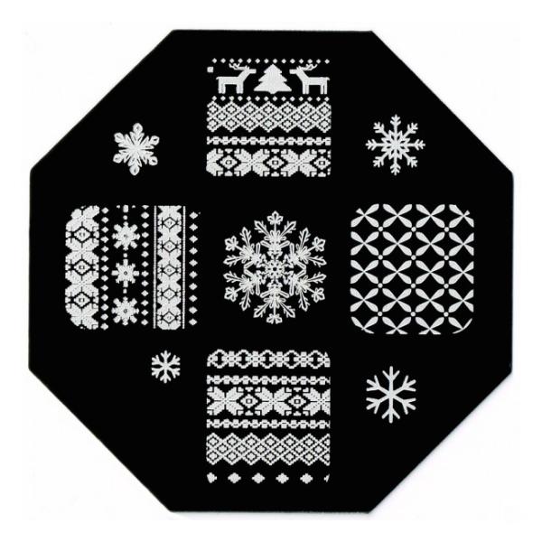 Plaque de stamping Pull en Laine Jacquard et Flocon de Neige