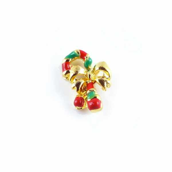 Bijoux pour ongles - Couronne de Noël dorée