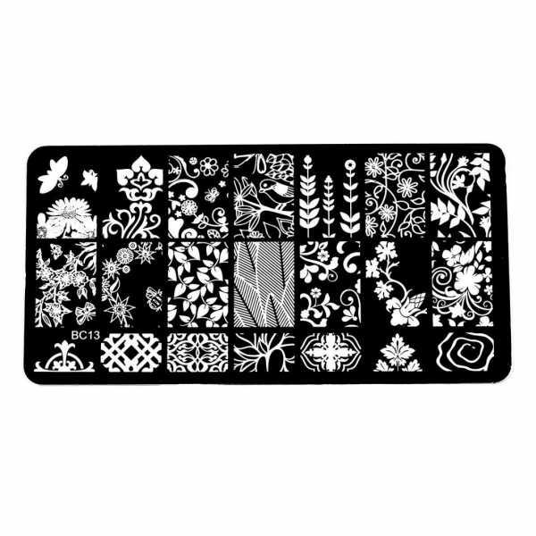 Plaque de Stamping Fleur, Feuillage et Oiseau BC13