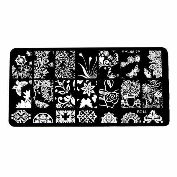 Plaque de Stamping Motifs Intégraux Fleur, Papillon et Feuillage  BC14