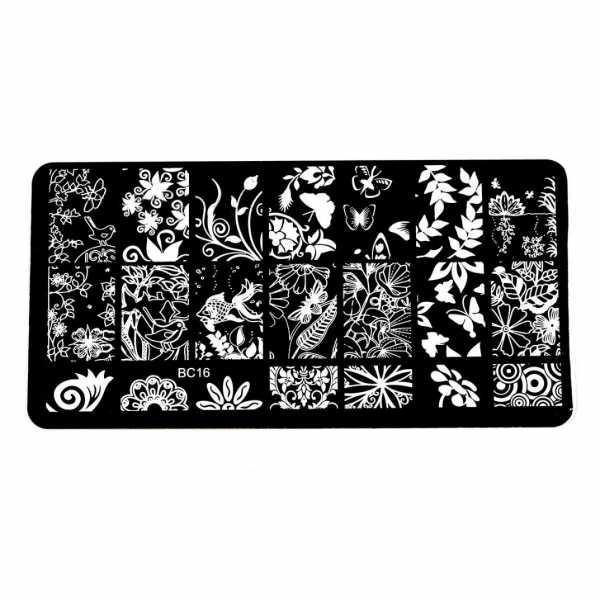 Plaque de Stamping Motifs Intégraux Poisson, Papillon et Végétation BC16
