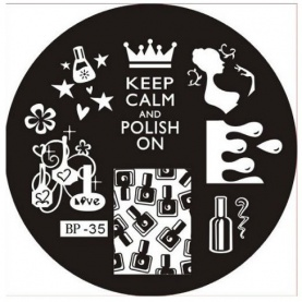 Plaque de Stamping Keep calm ans polish on et Vernis à ongles