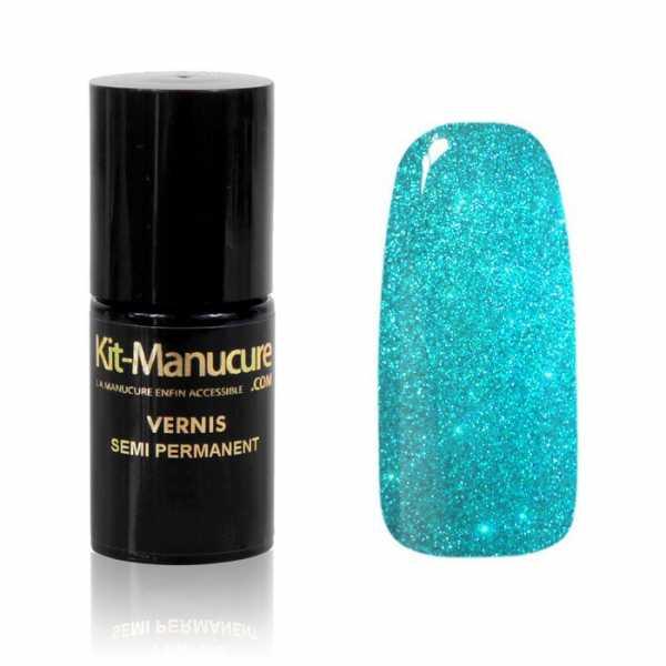 Vernis Semi-Permanent Transparent à Paillettes Bleues Lagon