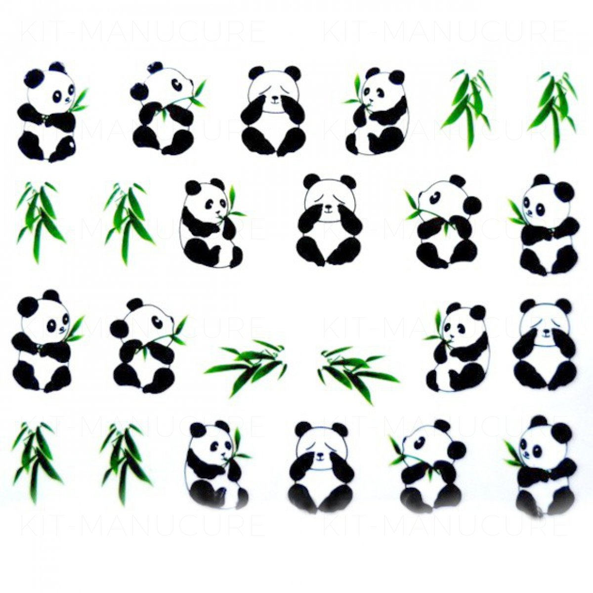 water decals panda noir et blanc et bambou. Black Bedroom Furniture Sets. Home Design Ideas