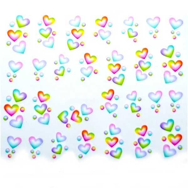 Water Decals Coeurs Multicolore