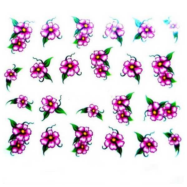 Water Decals Fleurs Roses et Feuilles Vertes