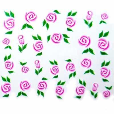 Water Decals Fleurs Roses Stylisées Et Feuilles Vertes