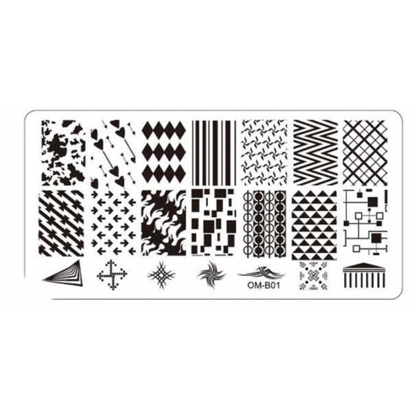 Plaque de Stamping Nail Art Motifs Intégraux et Formes Géométriques  OMB01