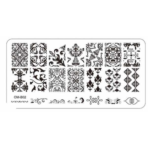 Plaque de Stamping Nail Art Motifs Intégraux, Baroque et Végétation OMB02
