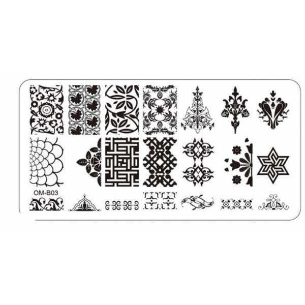 Plaque de Stamping Nail Art Végétale et Asiatique OMB03