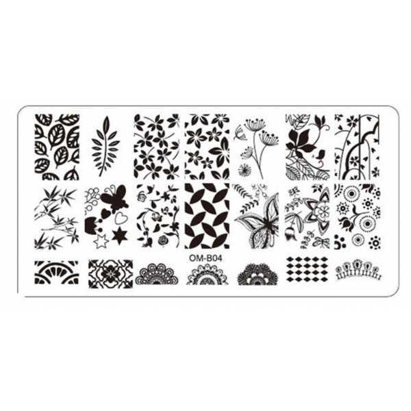 Plaque de Stamping Nail Art Feuilles, Feuillage Arabesques et Papillon OMB04
