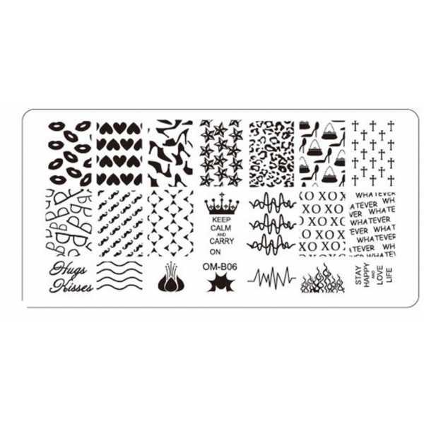 Plaque de Stamping Nail Art Coeur Talons Bouche Moustache Lunette OMB06
