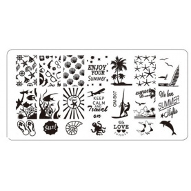 Plaque de Stamping Nail Art Summer Palmier Coquillage Tongues et Voyage  OMB07