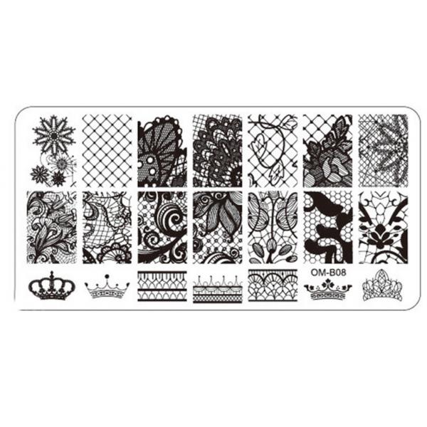 Plaque de Stamping Nail Art Couronne Dentelle et Résille OMB08