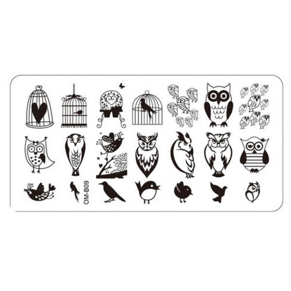Plaque de Stamping Hibou Chouette Oiseau et Cage OMB09