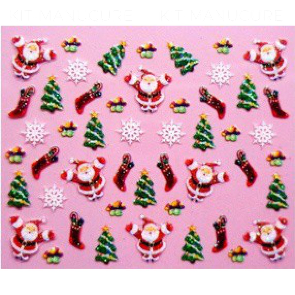 Stickers ongle p re no l sapin de no l et flocons de neige - Sapin de noel autocollant ...