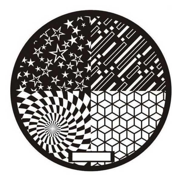 Plaque de stamping Spirale, Etoiles et tumbling bolcks