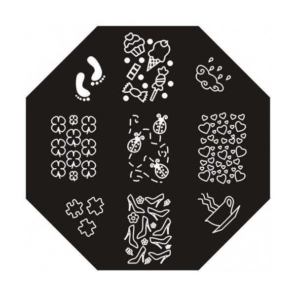 Plaque de stamping Trèfles, Coccinelles, Nuage et Traces de Pieds