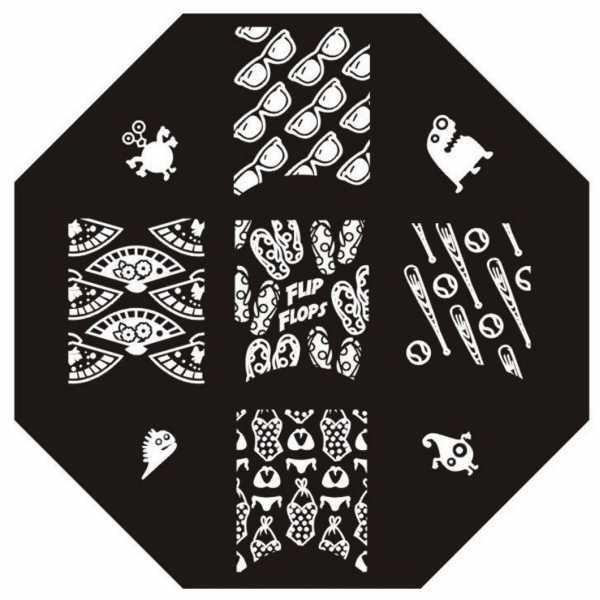 Plaque de stamping Petits Monstres, Lunettes de soleil, Tongs et Maillot de Bain