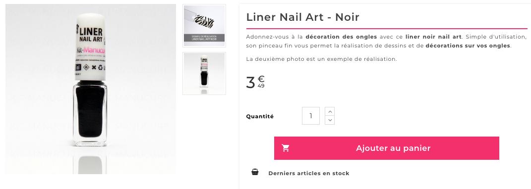 liner nail art noir