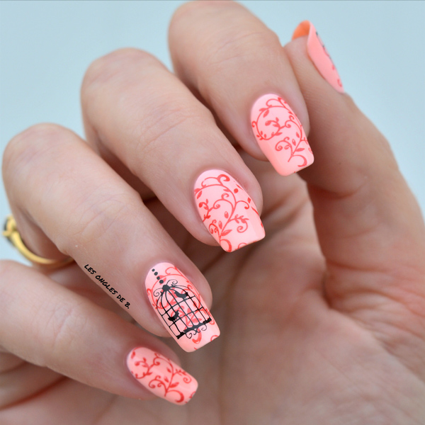 stamping nail art oiseau