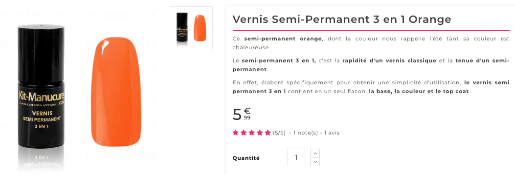 vernis semi-permanent orange